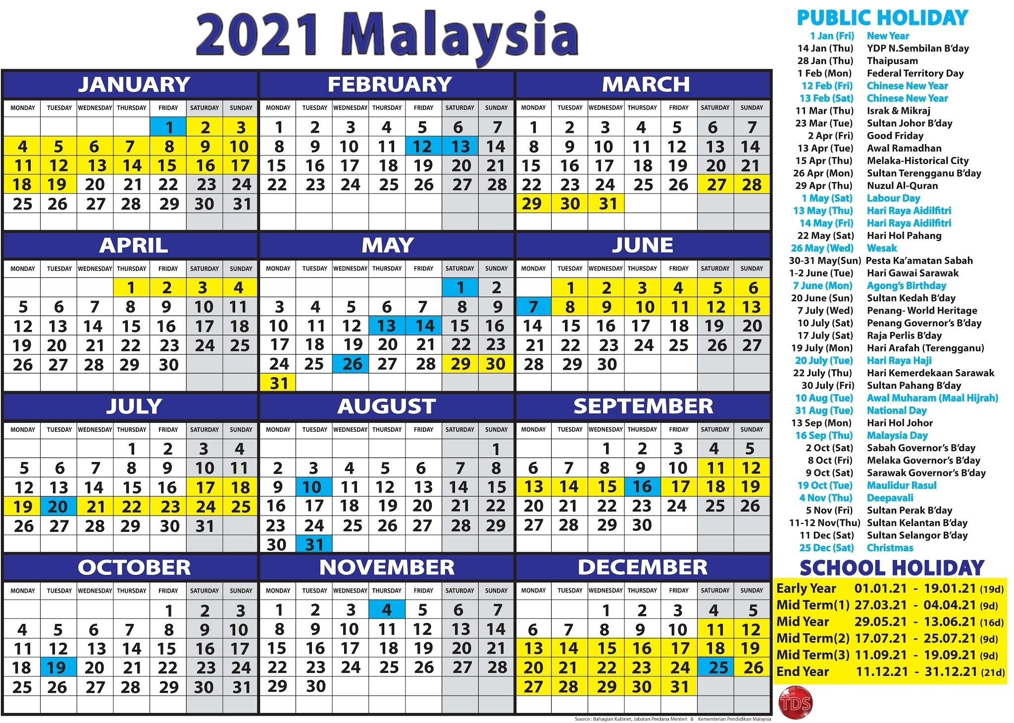 Calendar- 2021 Malaysia - Kalendar 2021 Malaysia