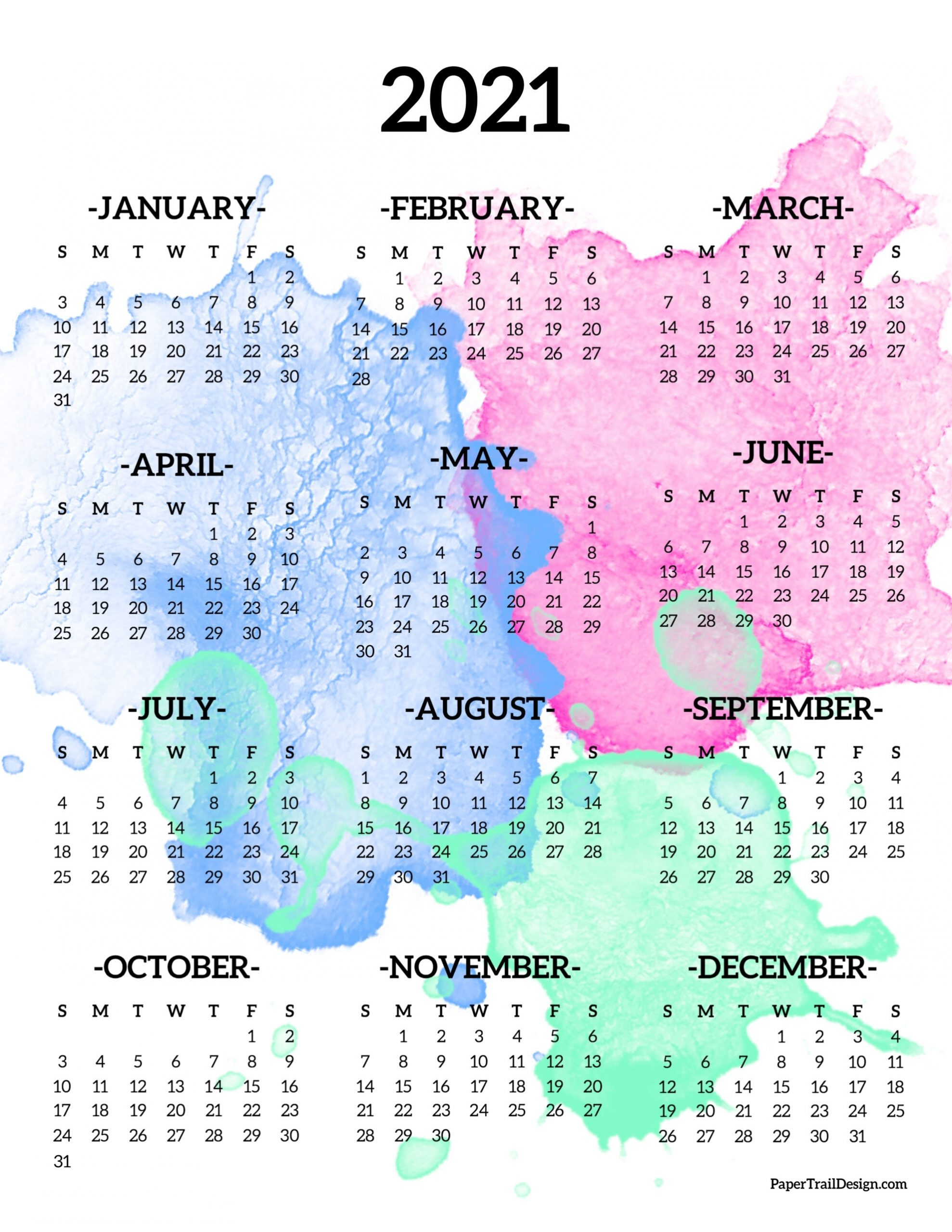 Calendar 2021 Printable One Page | Paper Trail Design