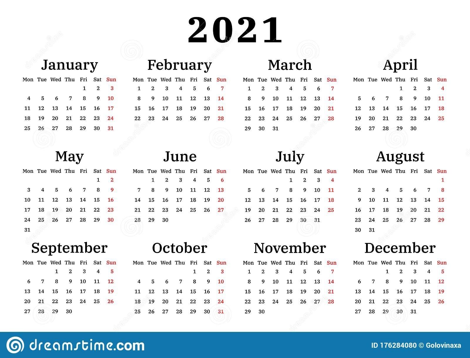 Calendar 2021, Week Starts On Monday Stock Vector