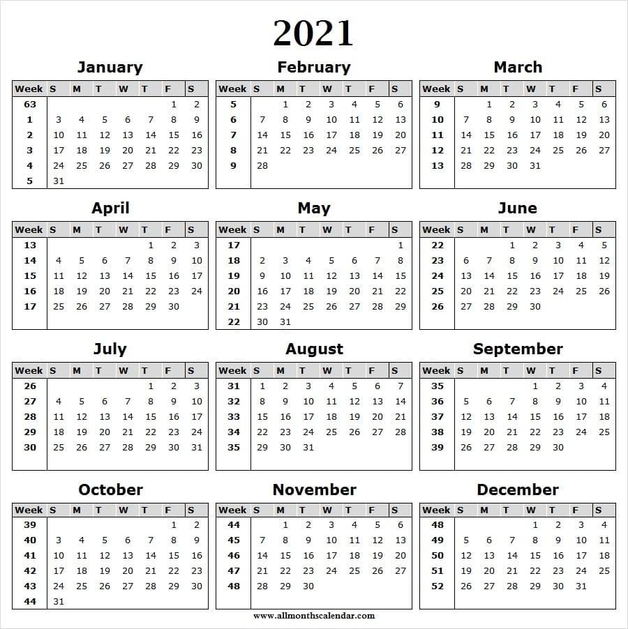 Calendar 2021 Week Wise - Full Year Calendar 2021 Year in Calendar For 2020 Week Wise