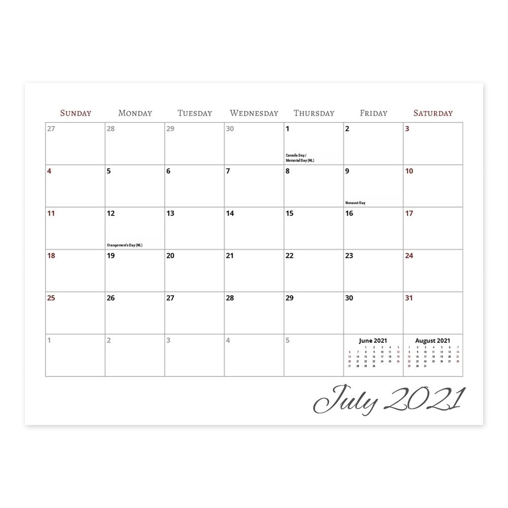 Calendar - 8.5X11 Center Spiral