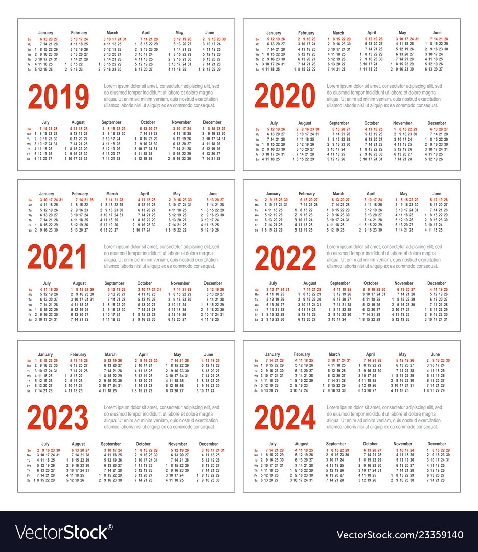 Calendar For 2019 2020 2021 2022 2023 2024 Vector Image in Yearly 2019 2020 2021 2022 2023