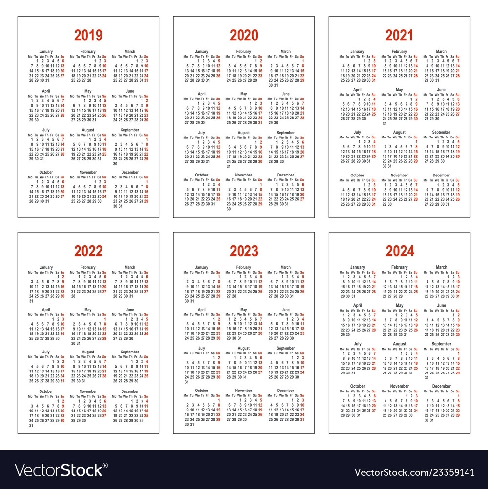 Calendar For 2019 2020 2021 2022 2023 2024 Vector Image inside Year Calendar 2019 2020 2021 2022 2023 2024