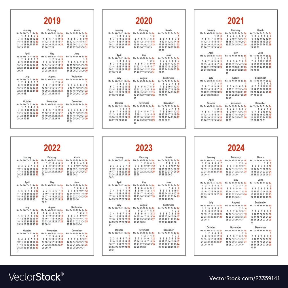 Calendar For 2019 2020 2021 2022 2023 2024 Vector Image pertaining to Calendars 2019 2020 2021 2022 2023