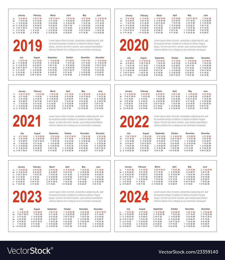 Calendar For 2019 2020 2021 2022 2023 2024 Vector Image