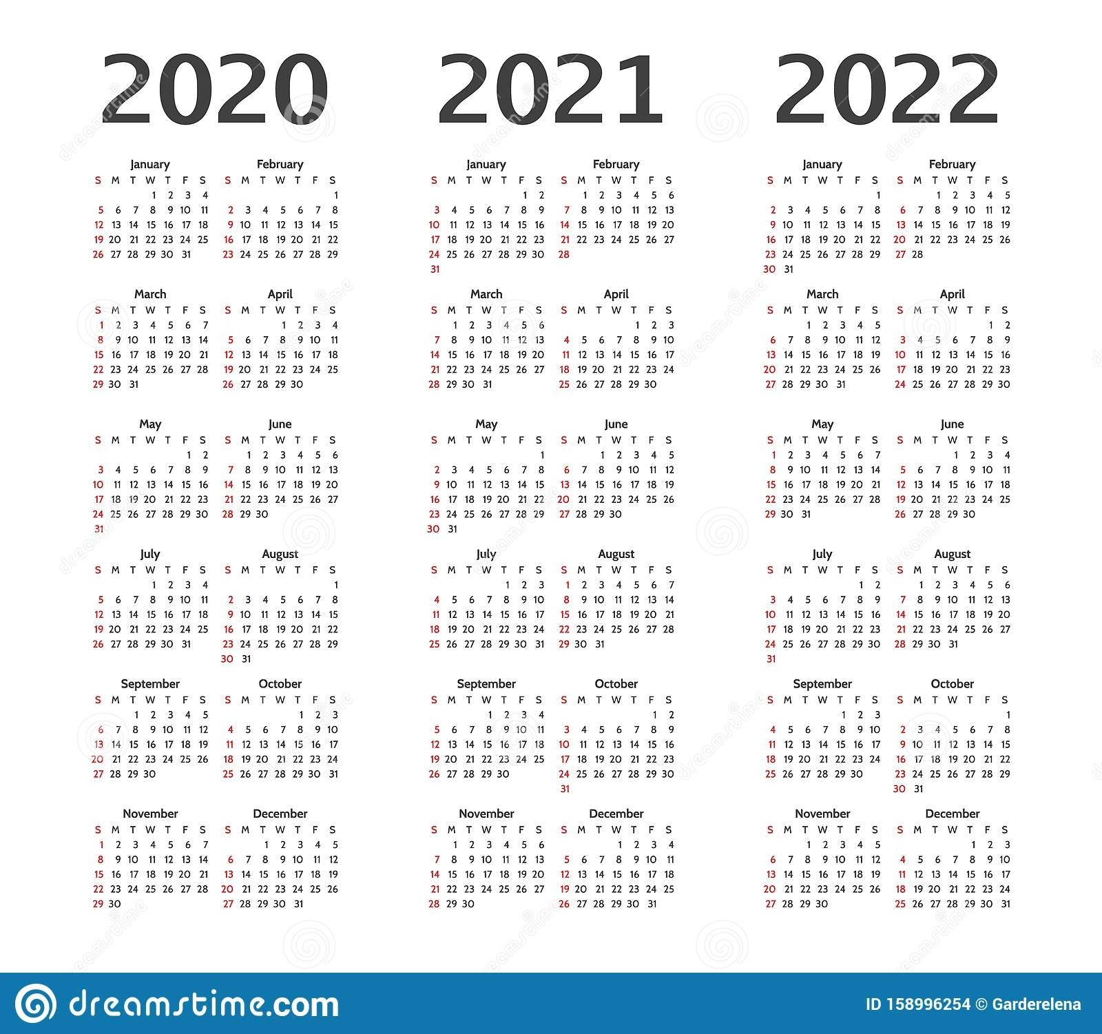 Calendar For 2020, 2021 And 2022 Years. Calender Stock