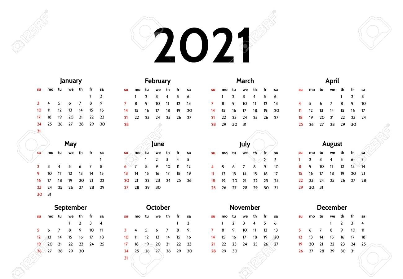 Calendar For 2021 Isolated On A White Background. Sunday To Monday,..