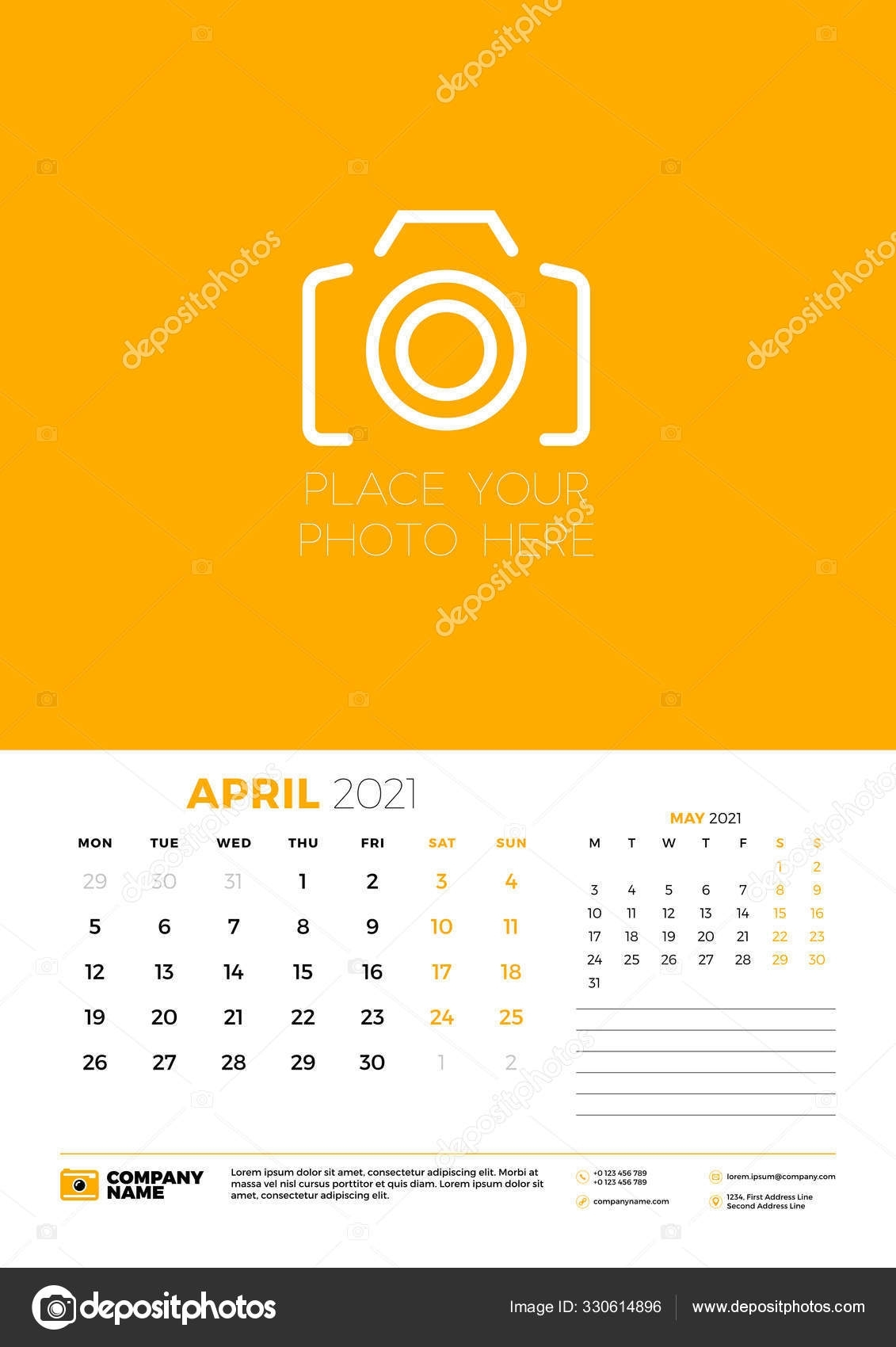 Calendar For April 2021. Week Starts On Monday. Wall Calendar Planner  Template. Vector Illustration 330614896