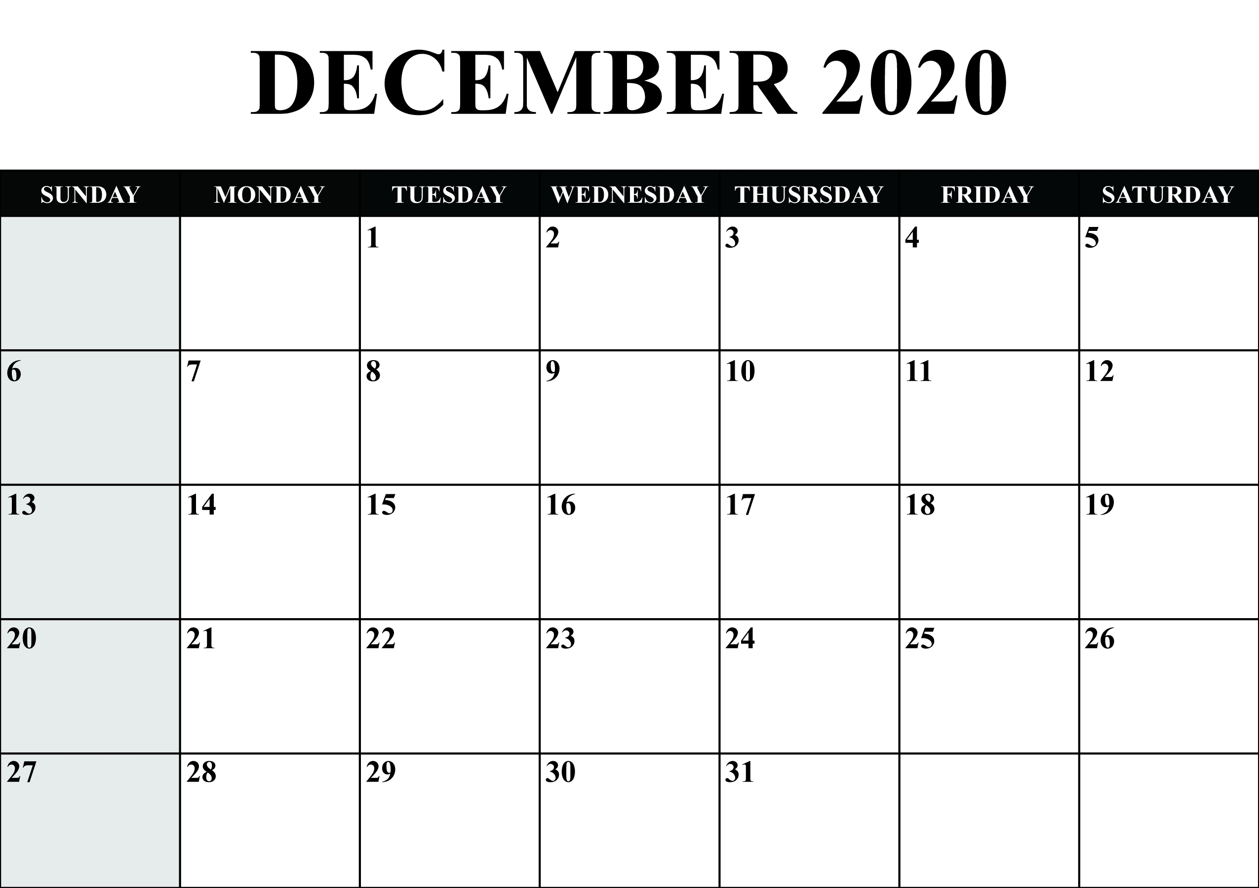 Calendar For December 2020 | Monthly Calendar Printable