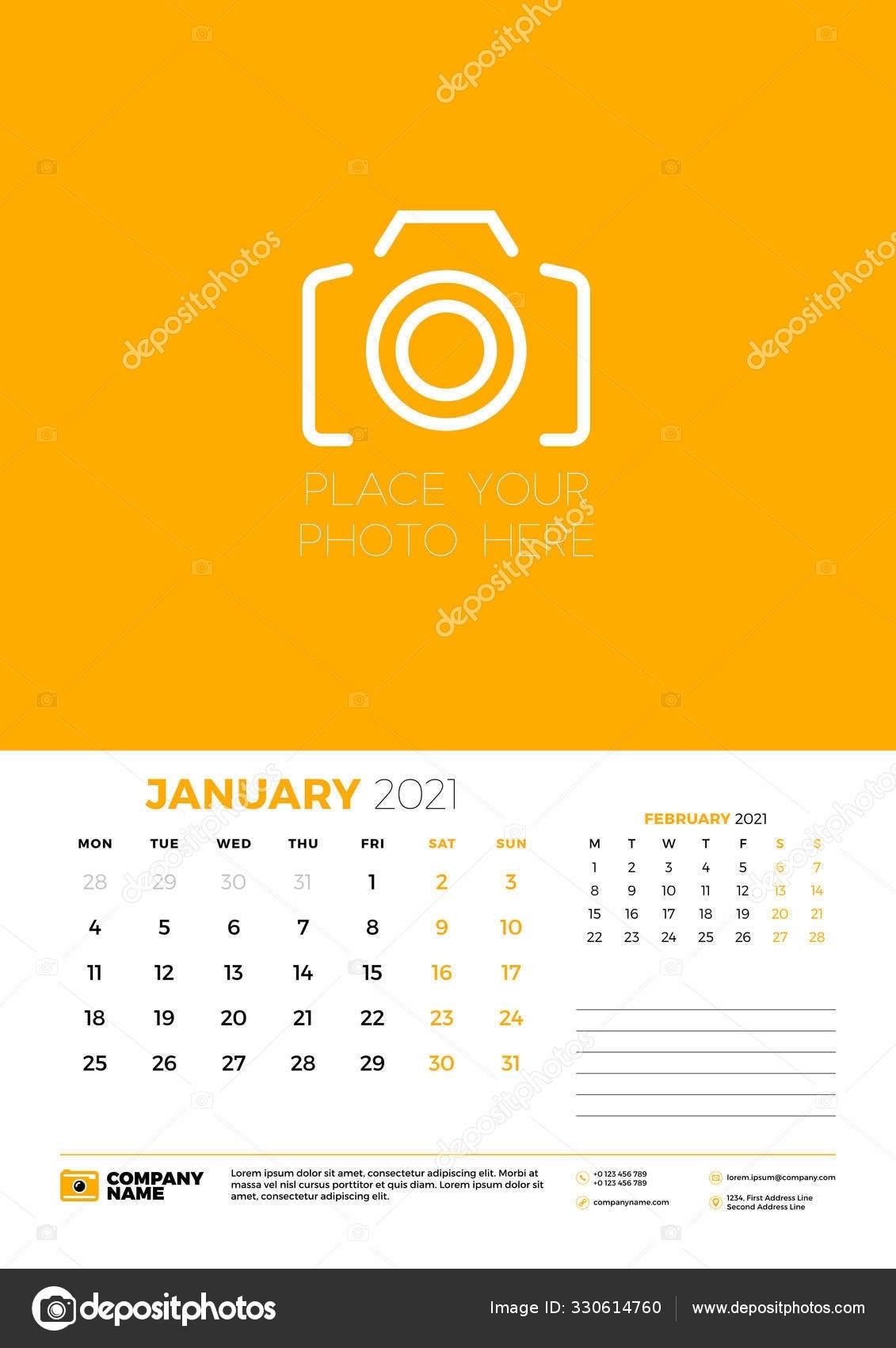 Calendar For January 2021. Week Starts On Monday. Wall Calendar Planner  Template. Vector Illustration 330614760