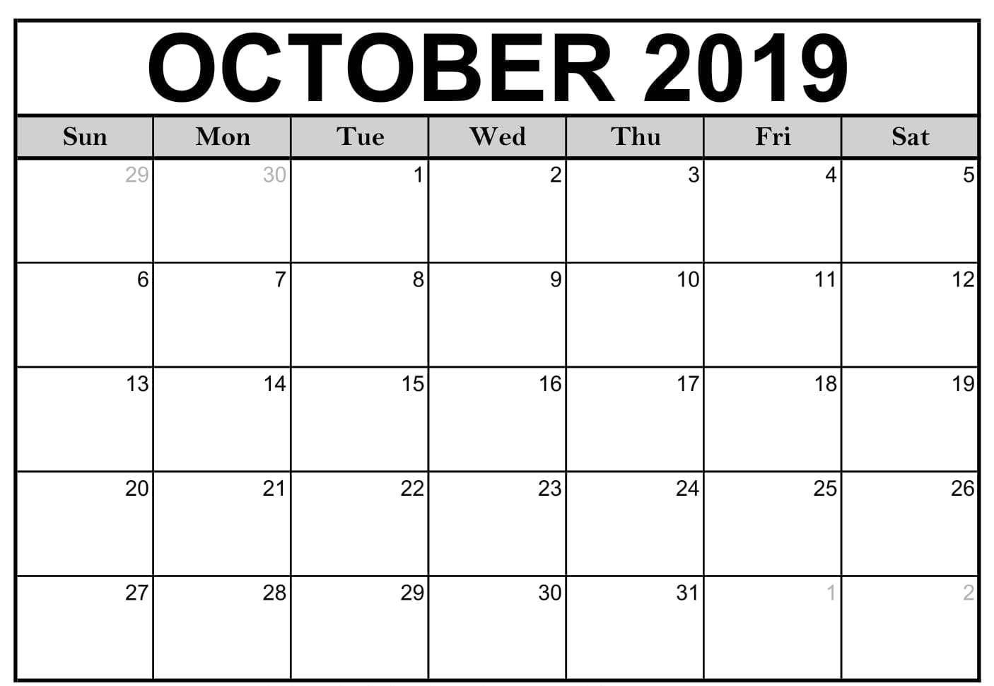 Calendar For October 2019 Pdf In 2020 | Calendar Printables within Fill In Calendar 2019 Pdf