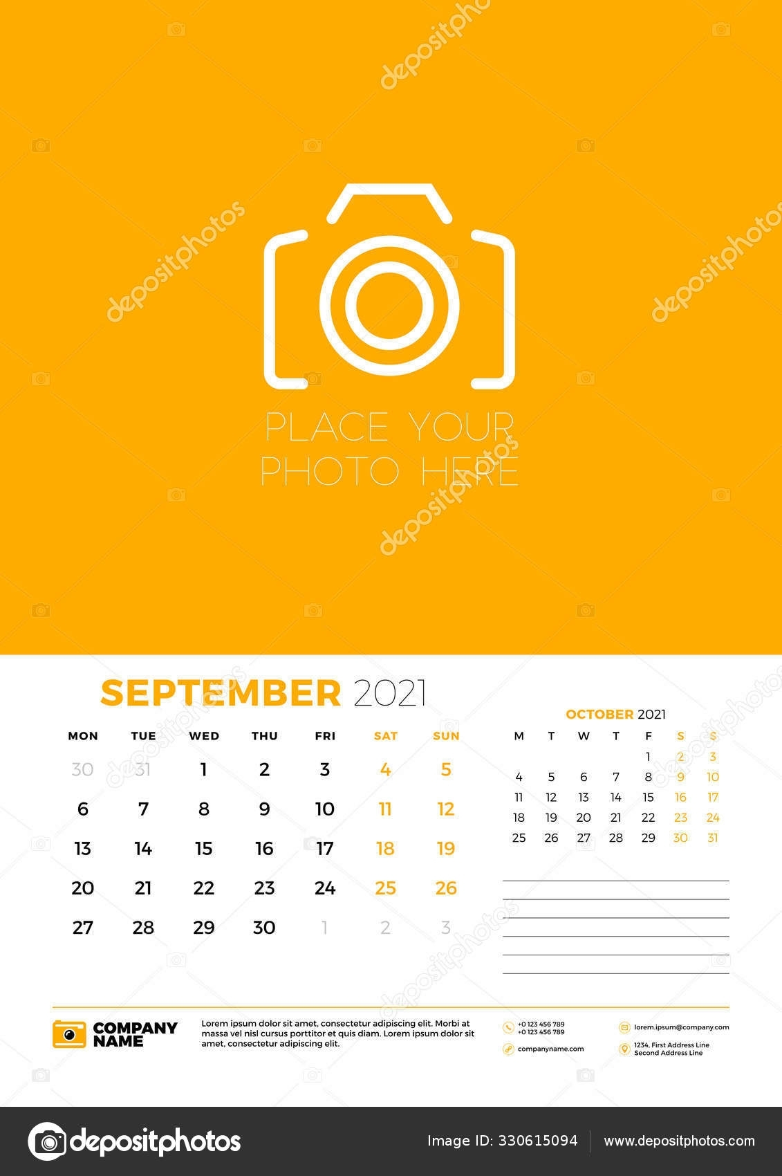 Calendar For September 2021. Week Starts On Monday. Wall Calendar Planner  Template. Vector Illustration 330615094