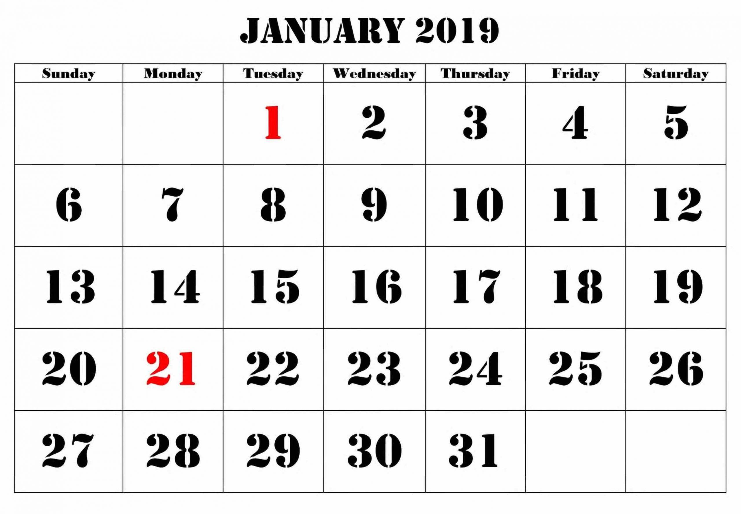 Calendar January 2019 Large Number #Januarycalendar