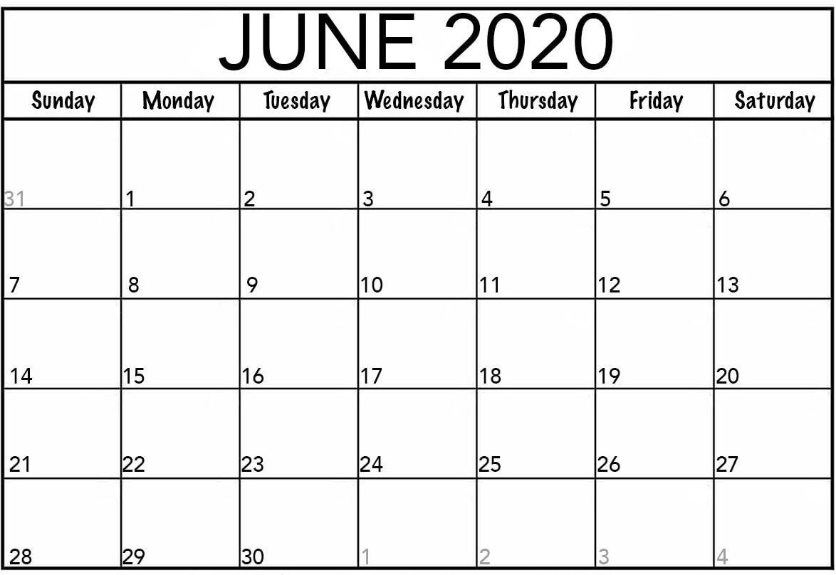 Calendar June 2020 Printable Template Word - Web Galaxy