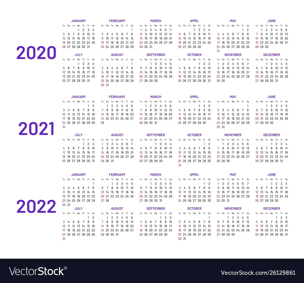 Calendar Layouts For 2020 2021 2022 Years Vector Image