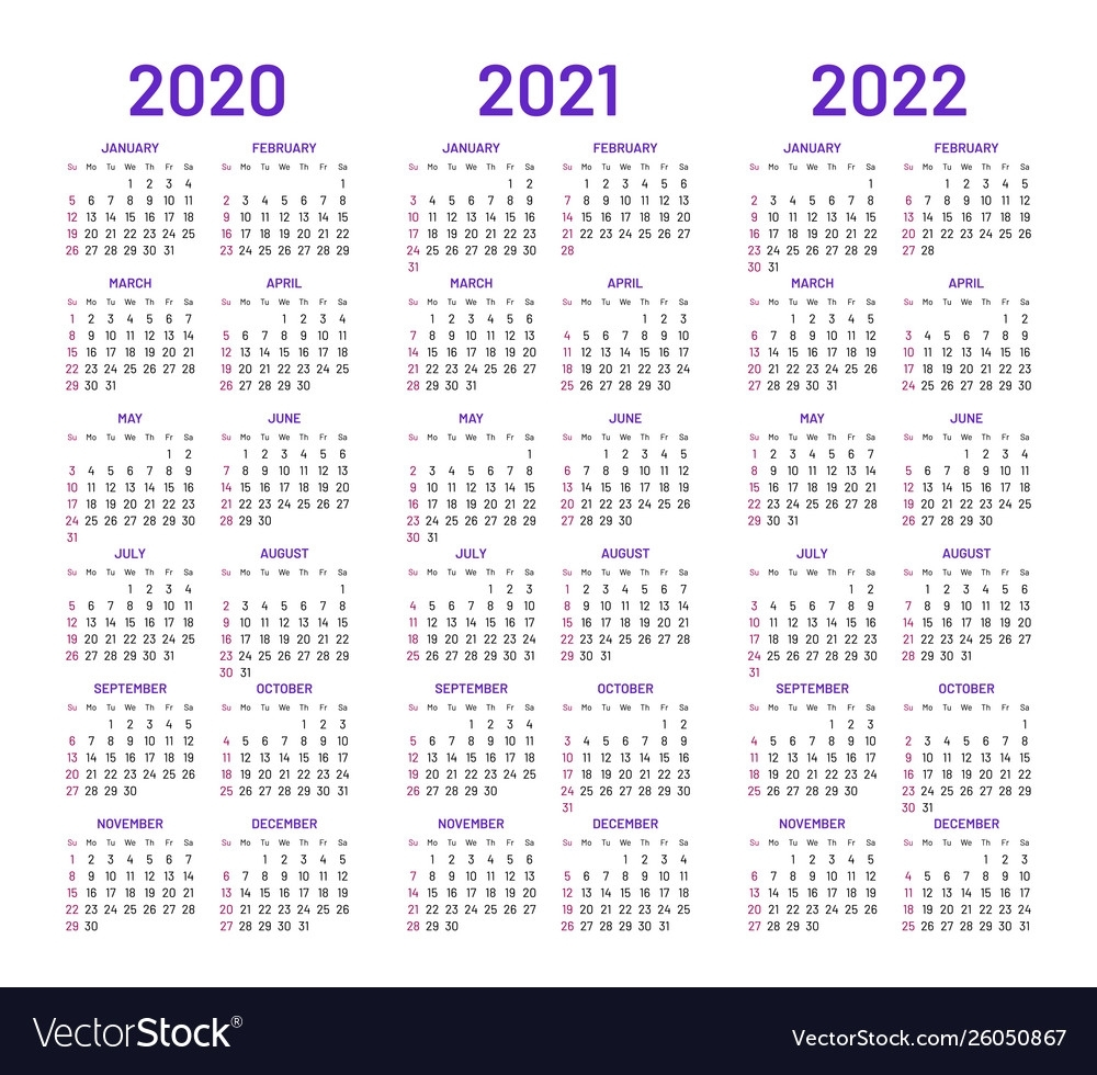 Calendar Layouts For 2020 2021 2022 Years Vector Image with 2020 2021 2022 Calendar Printable