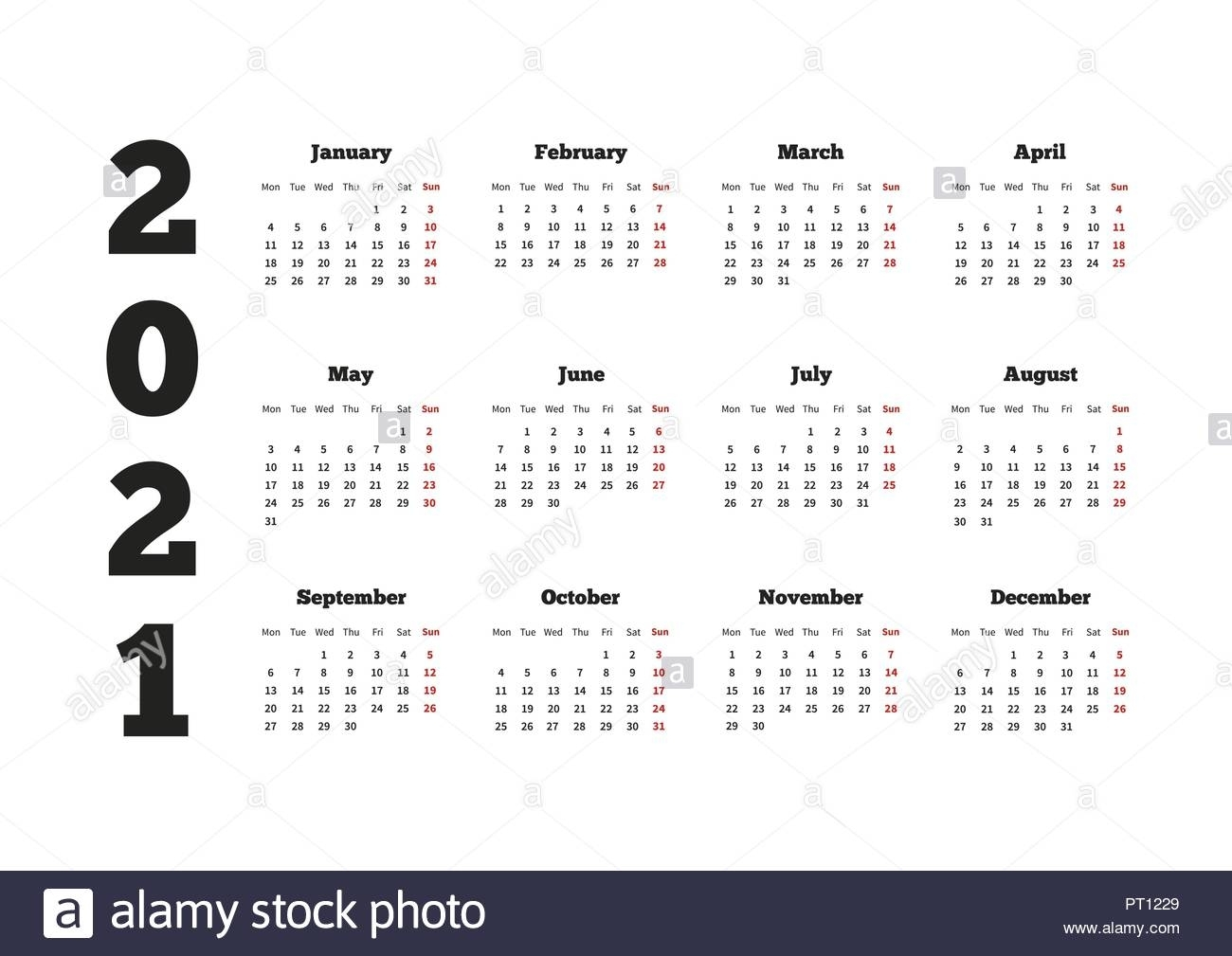 Calendar On 2021 Year With Week Starting From Monday, A4