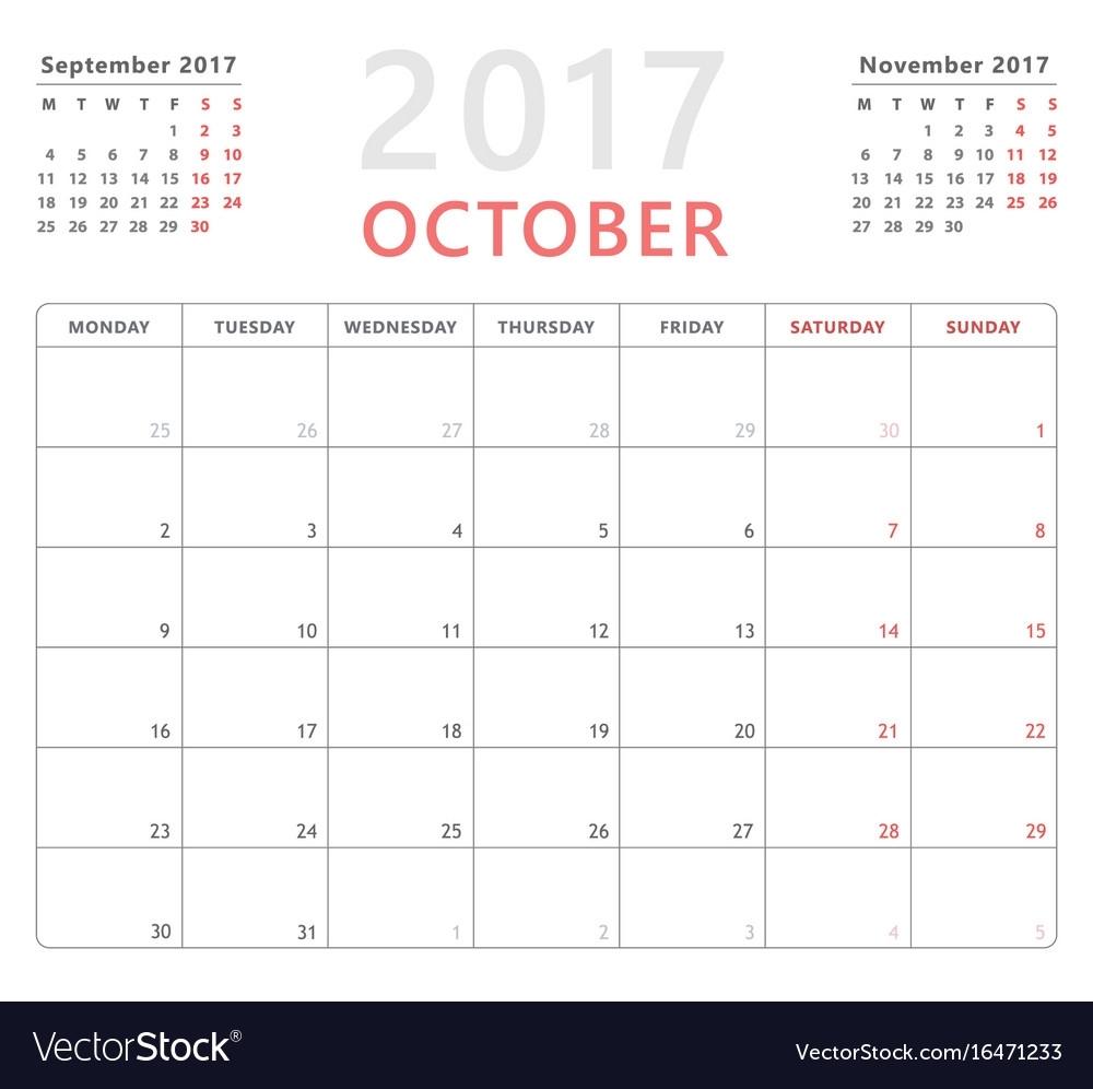 Calendar Planner 2017 October Week Starts Monday Vector Image for Calendar That Starts On Monday
