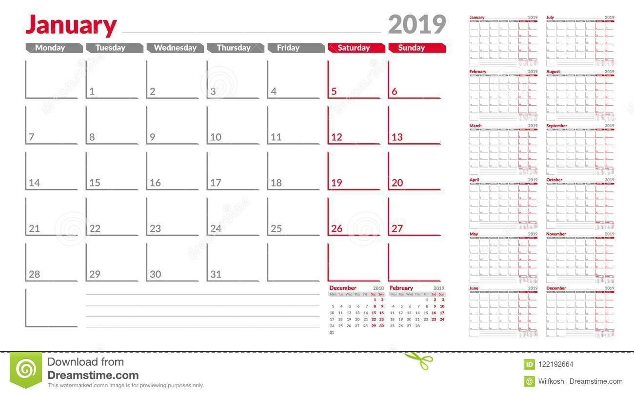 Calendar Planner Template 2019. Week Start From Monday. Set throughout Monthly Calendars That Start With Monday