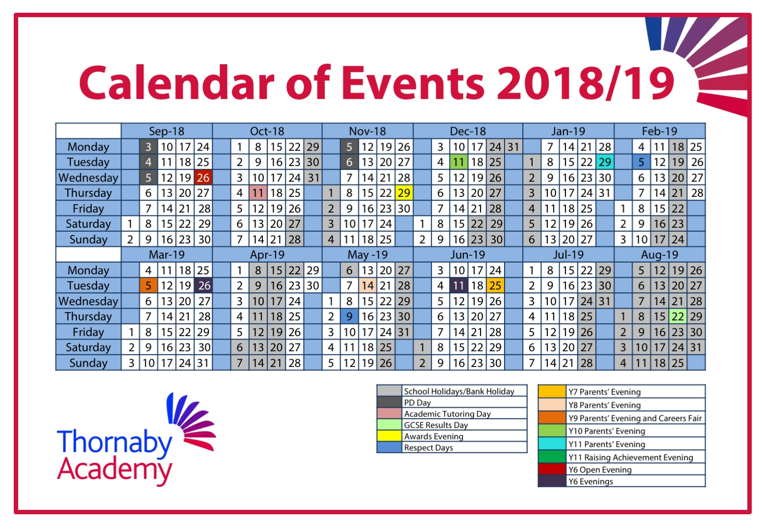 Calendar – Thornaby Academy regarding School Calendar For Pshe Events 2019-2020