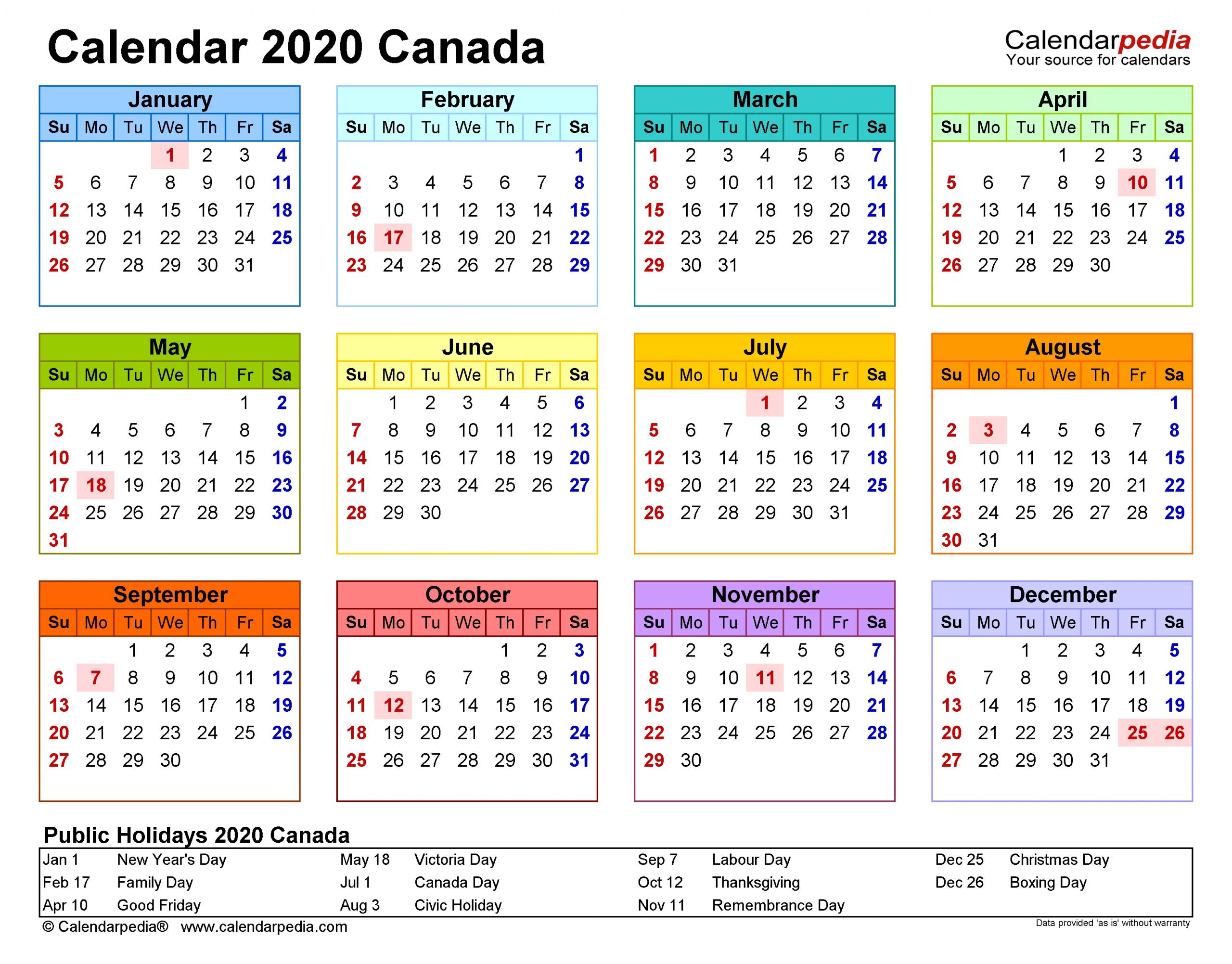 Canada Calendar 2020 - Free Printable Excel Templates regarding 2020 Calendar Landscape Year At A Glance