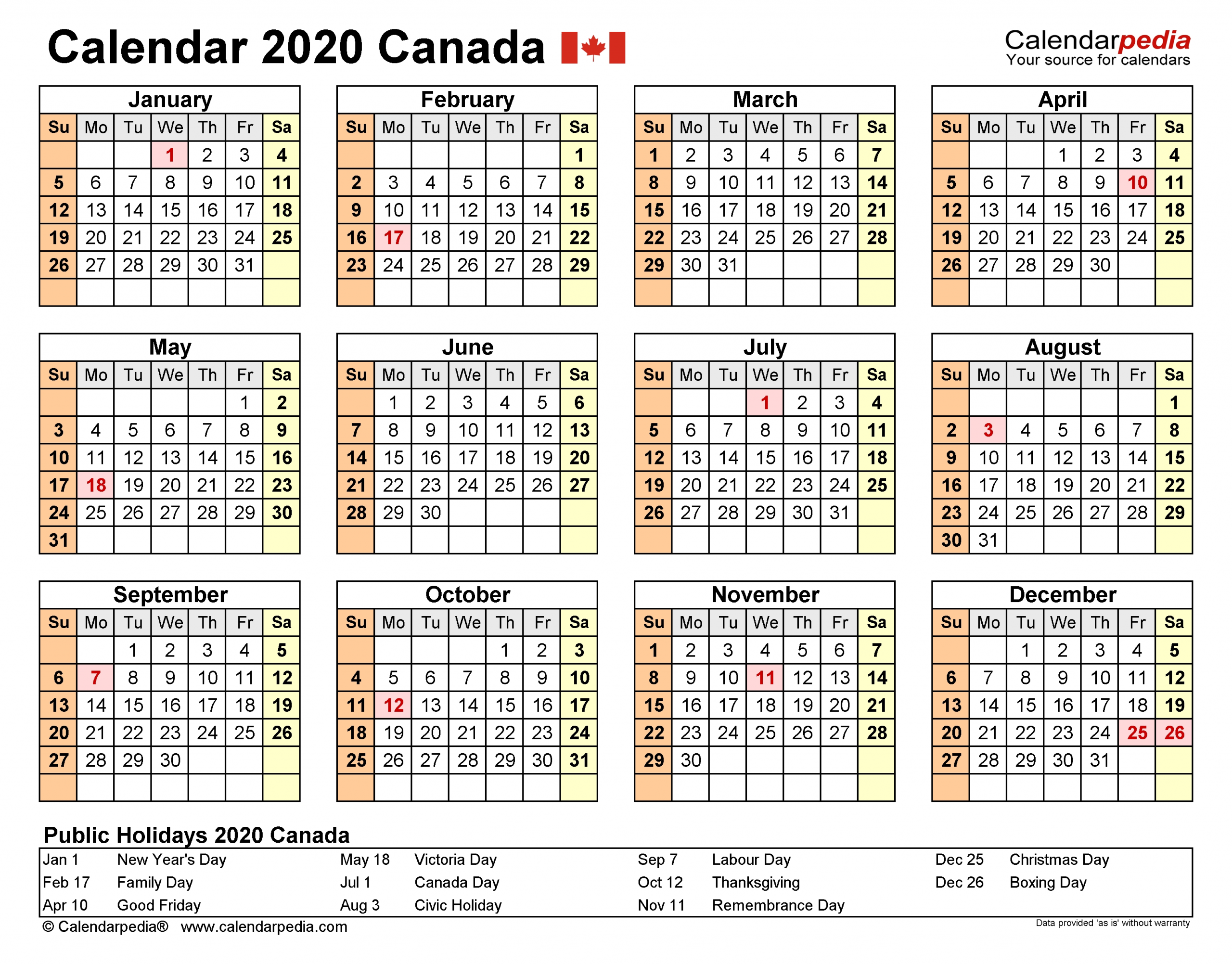 Canada Calendar 2020 - Free Printable Excel Templates throughout 2020 Calendar Landscape Year At A Glance