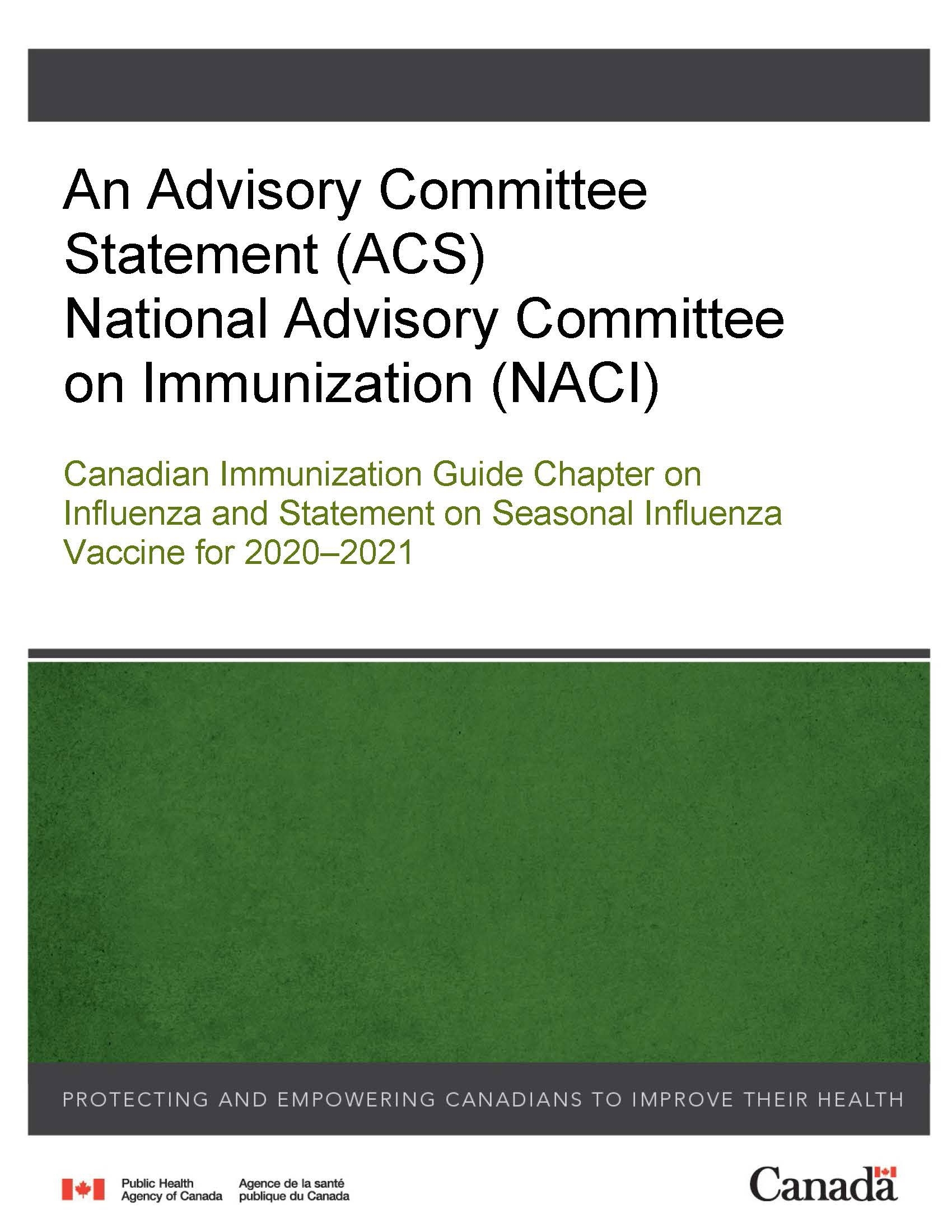 Canadian Immunization Guide Chapter On Influenza And