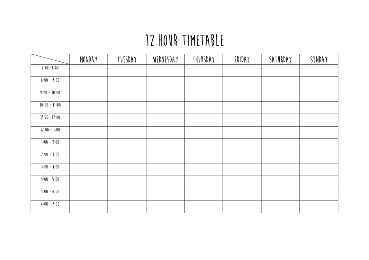 Challenge Your Limits : Photo | Study Timetable Template