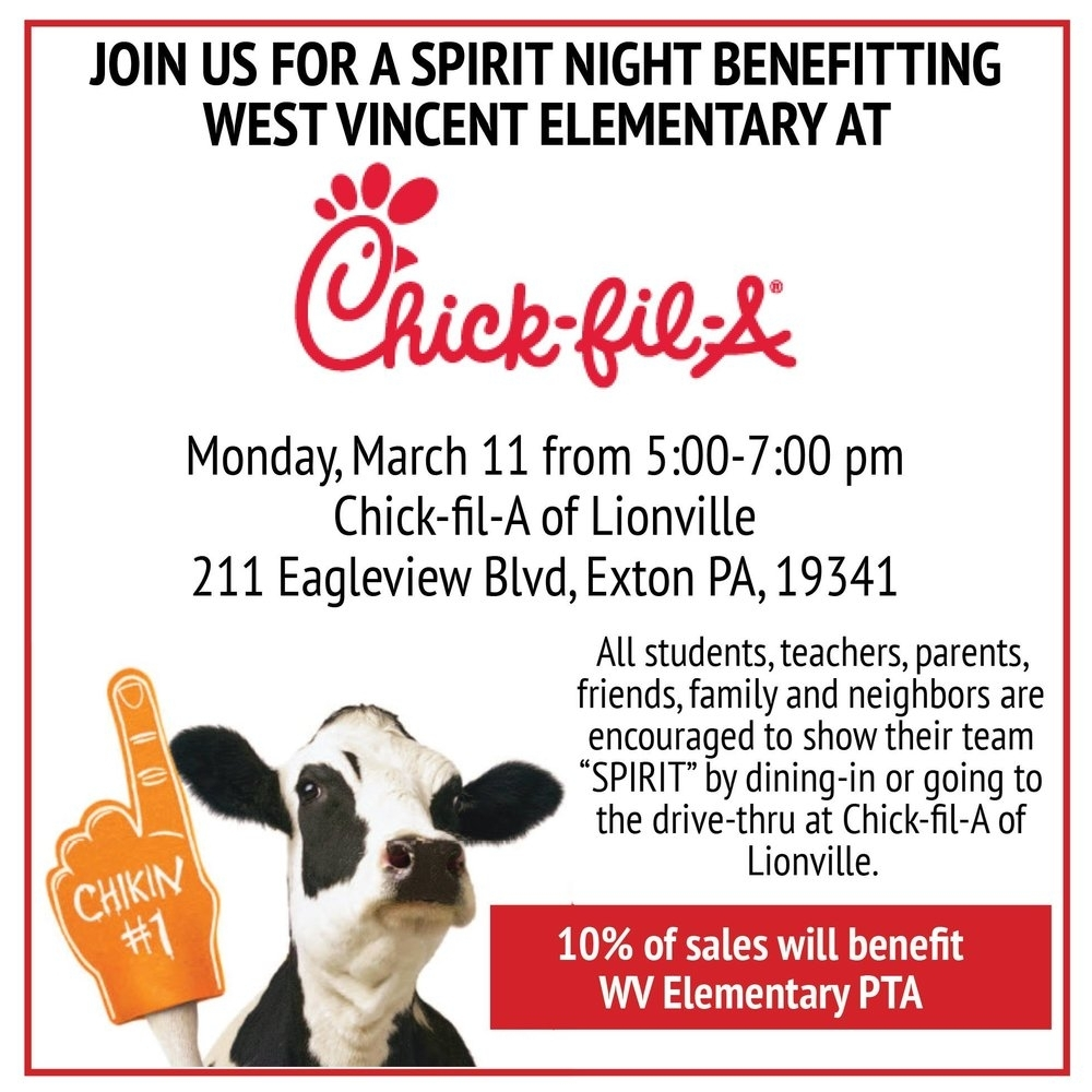 Chick-Fil-A — News — West Vincent Elementary School Pta