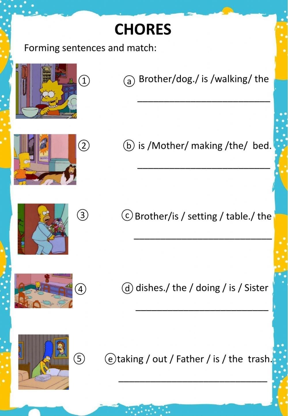 Chores Online Pdf Worksheet For Grade 2