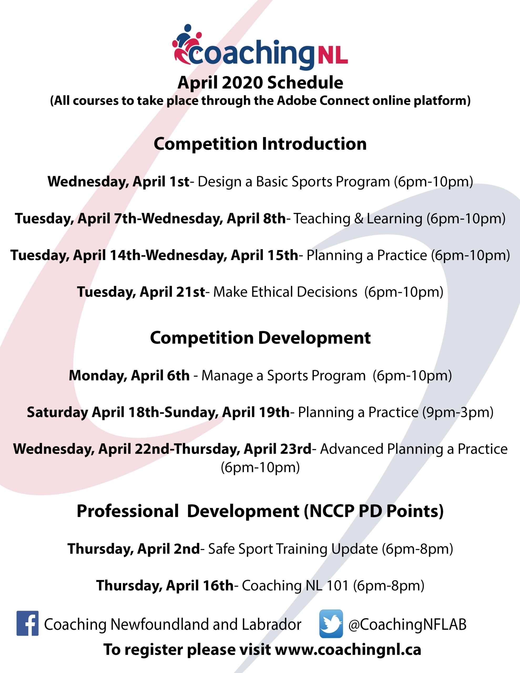 Coaching Nl April Courses – Sportnl