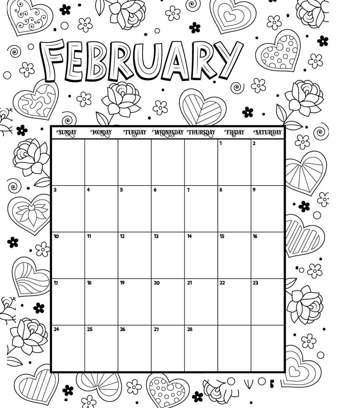 Coloring : Calendar Colorings February Printable Free For intended for 2019 2020 Calendar Printable Color In