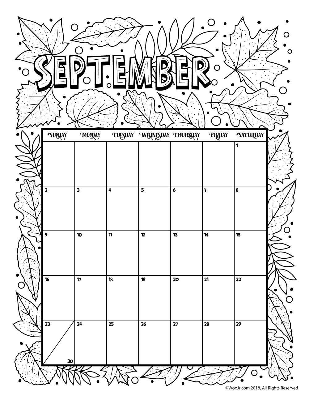 Coloring : September Coloring Pages Luxury Printable with Printable Coloring 2020 Monthly Calendar