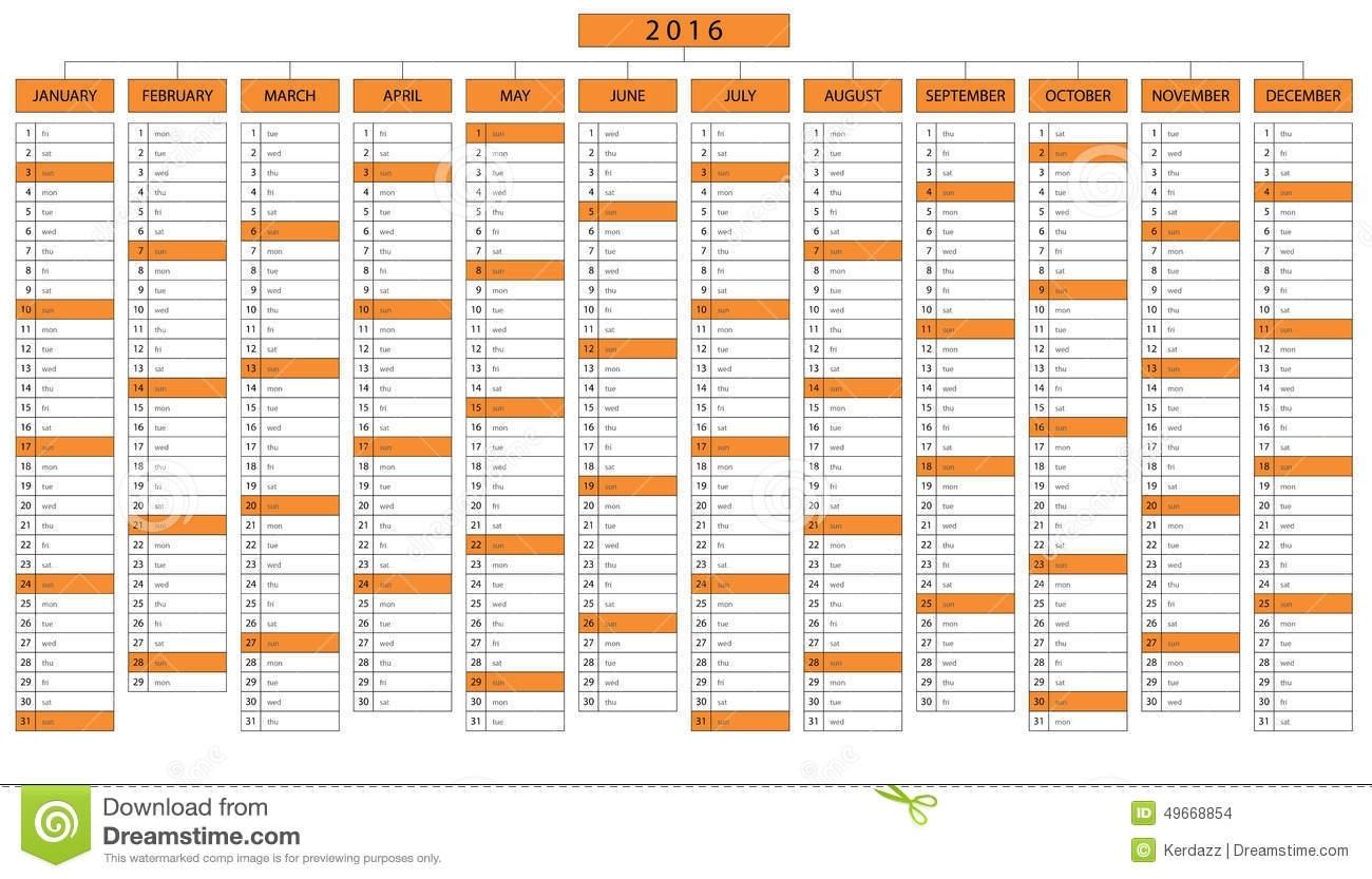 Column Calendar For Year 2016 Stock Vector - Illustration Of