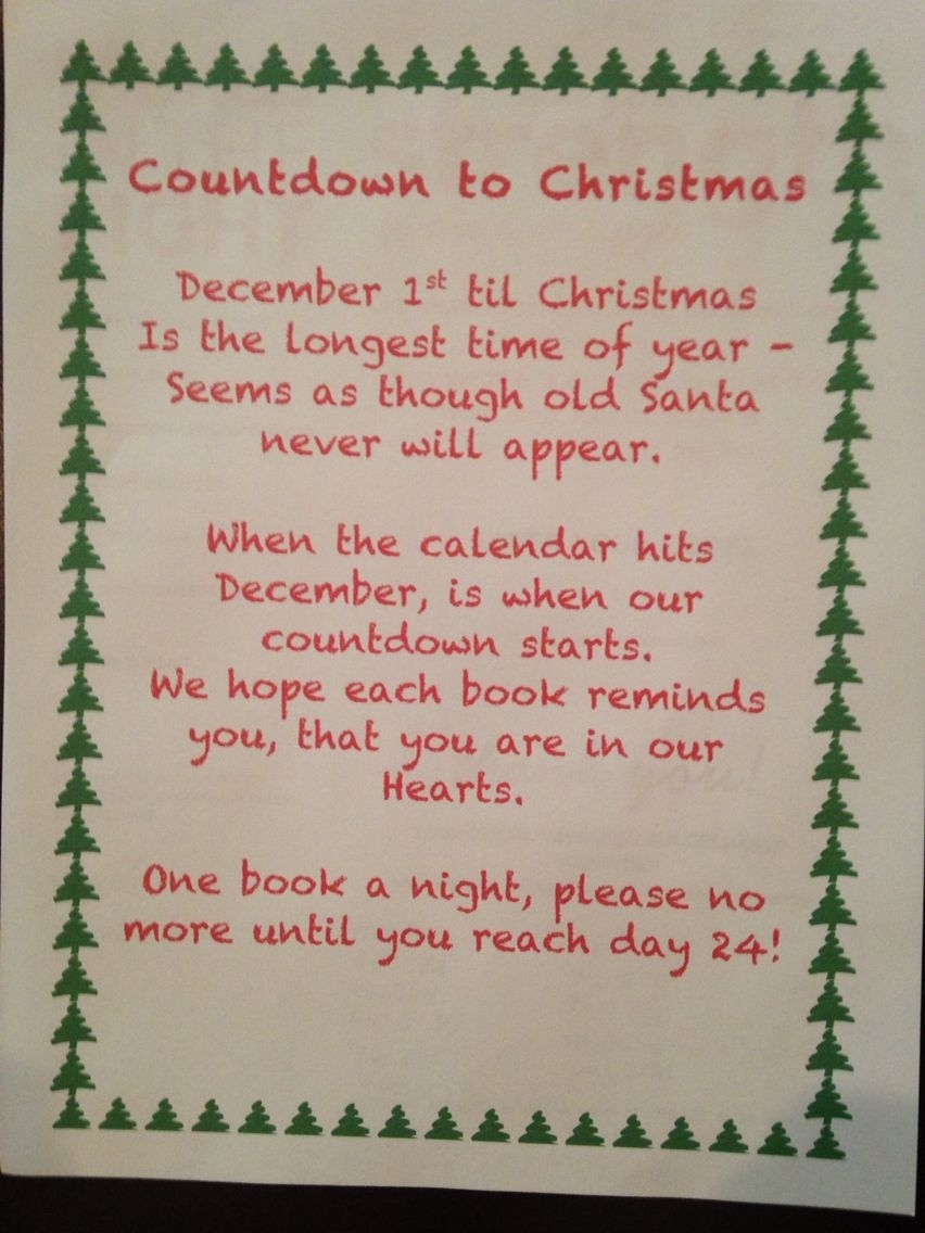 Countdown To Christmas, Book Advent Calendar Poem with Verses For Your Advent Calender
