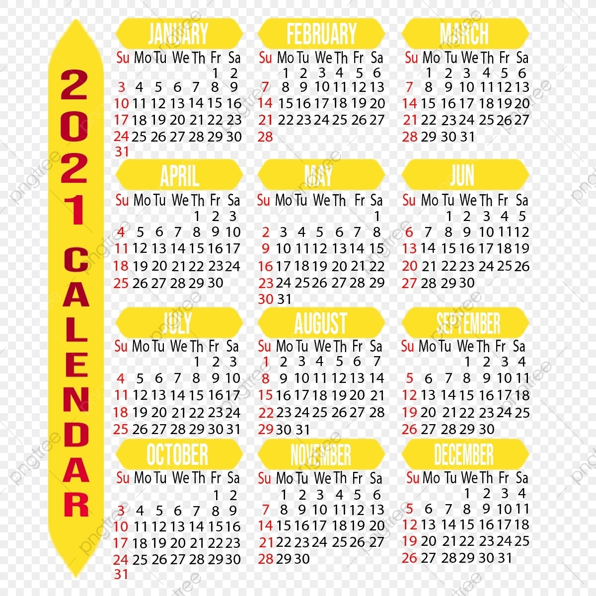 Customizable 2021 Calendar, Year, Month, Week Png