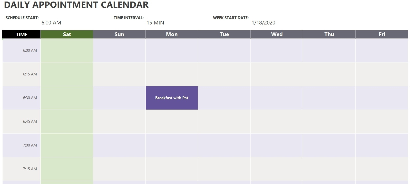 Daily Appointment Calendar Template | Excel Templates