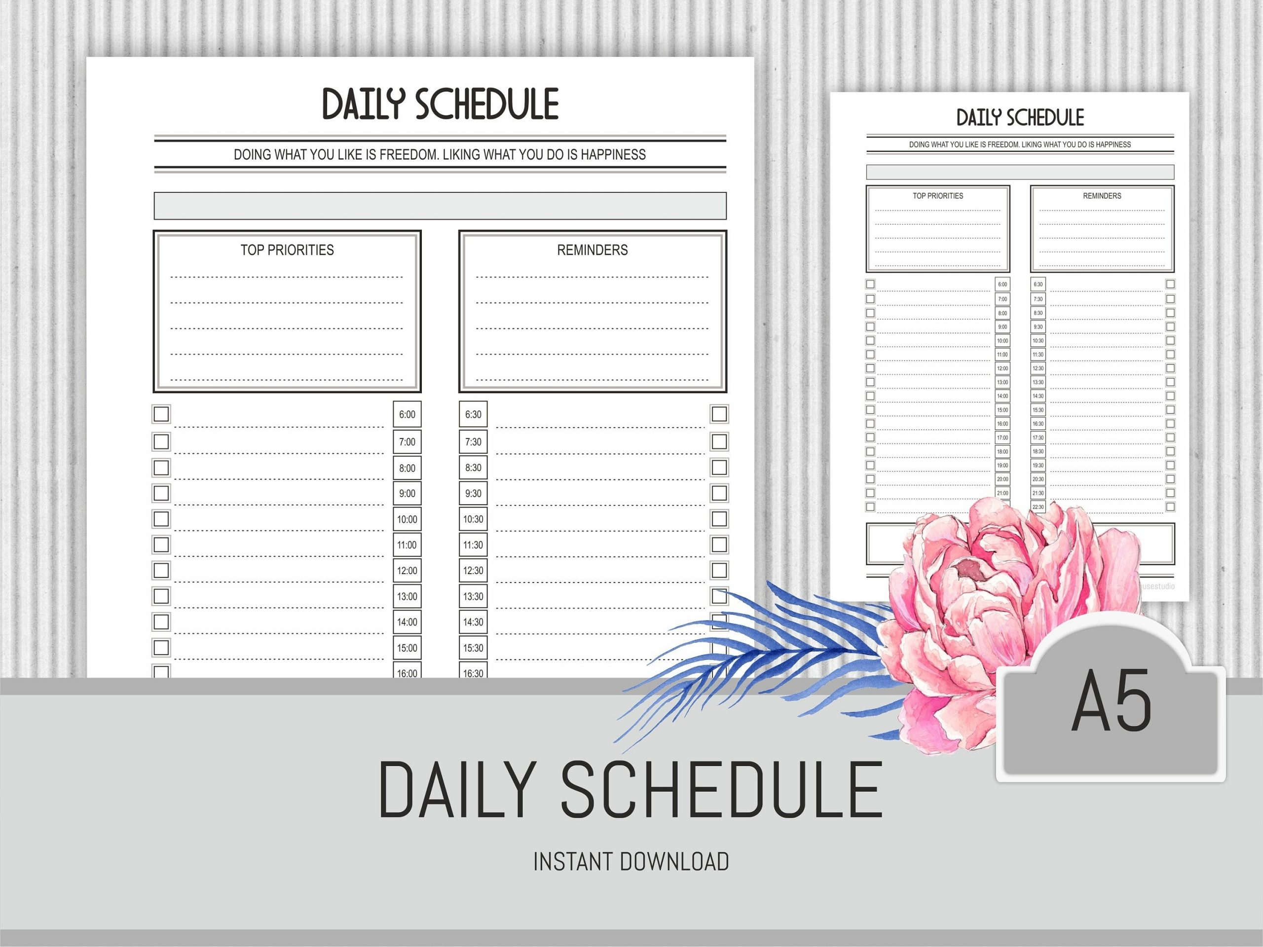 Daily Schedule Planner Printable Hourly Planner Day