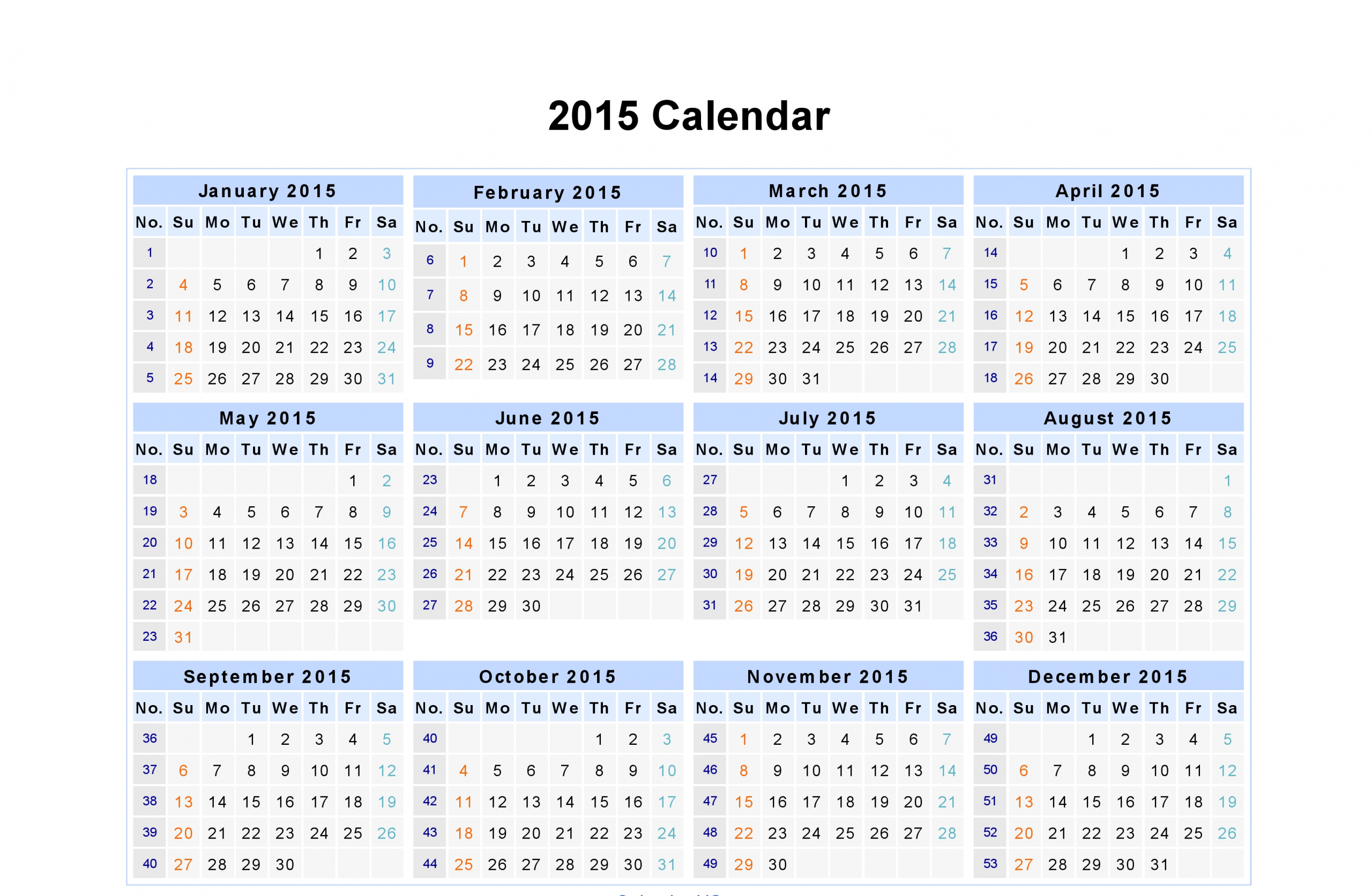 Day/Weekly/ Monthly Calendar Of Year 2015 | Excel Calendar