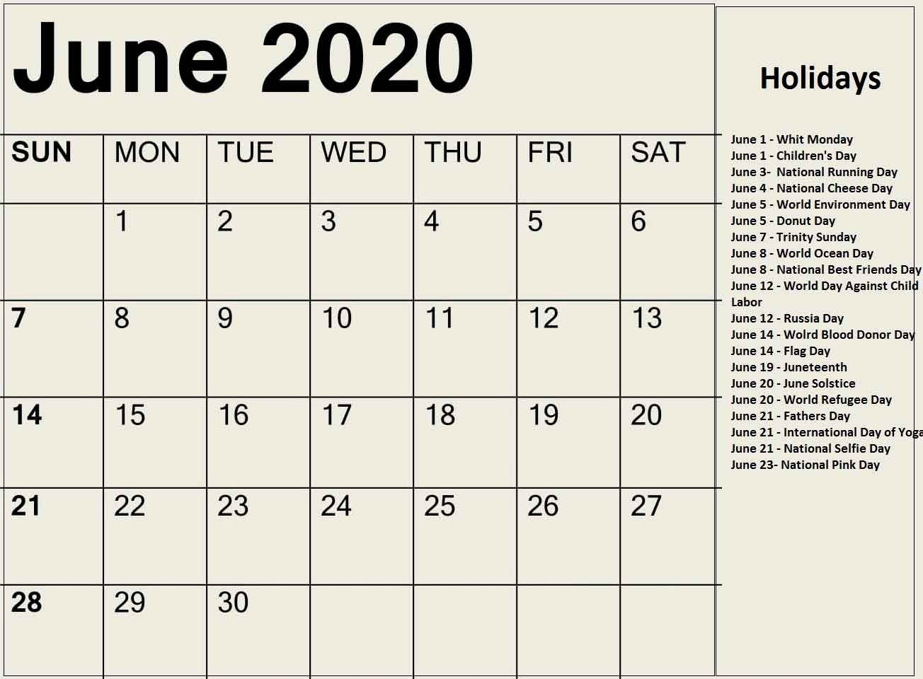 Days In June 2020 - Calendar Word with Calendar With All Special Days 2020