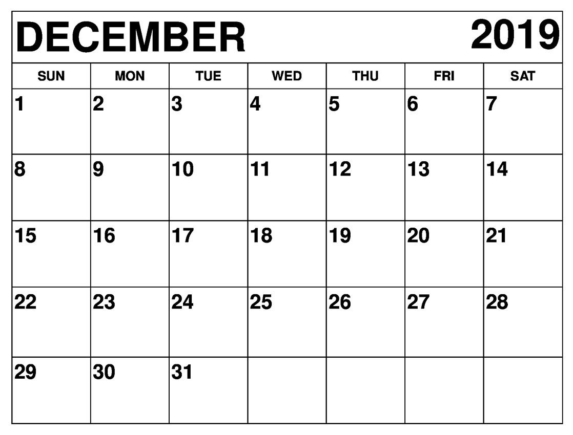 December 2019 Calendar Printable Daily, Monthly, Weekly