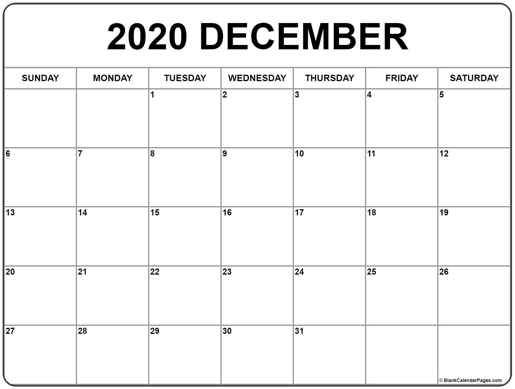 December 2020 Calendar | Free Printable Monthly Calendars for 30 Day Blank Calendar For Bills Due