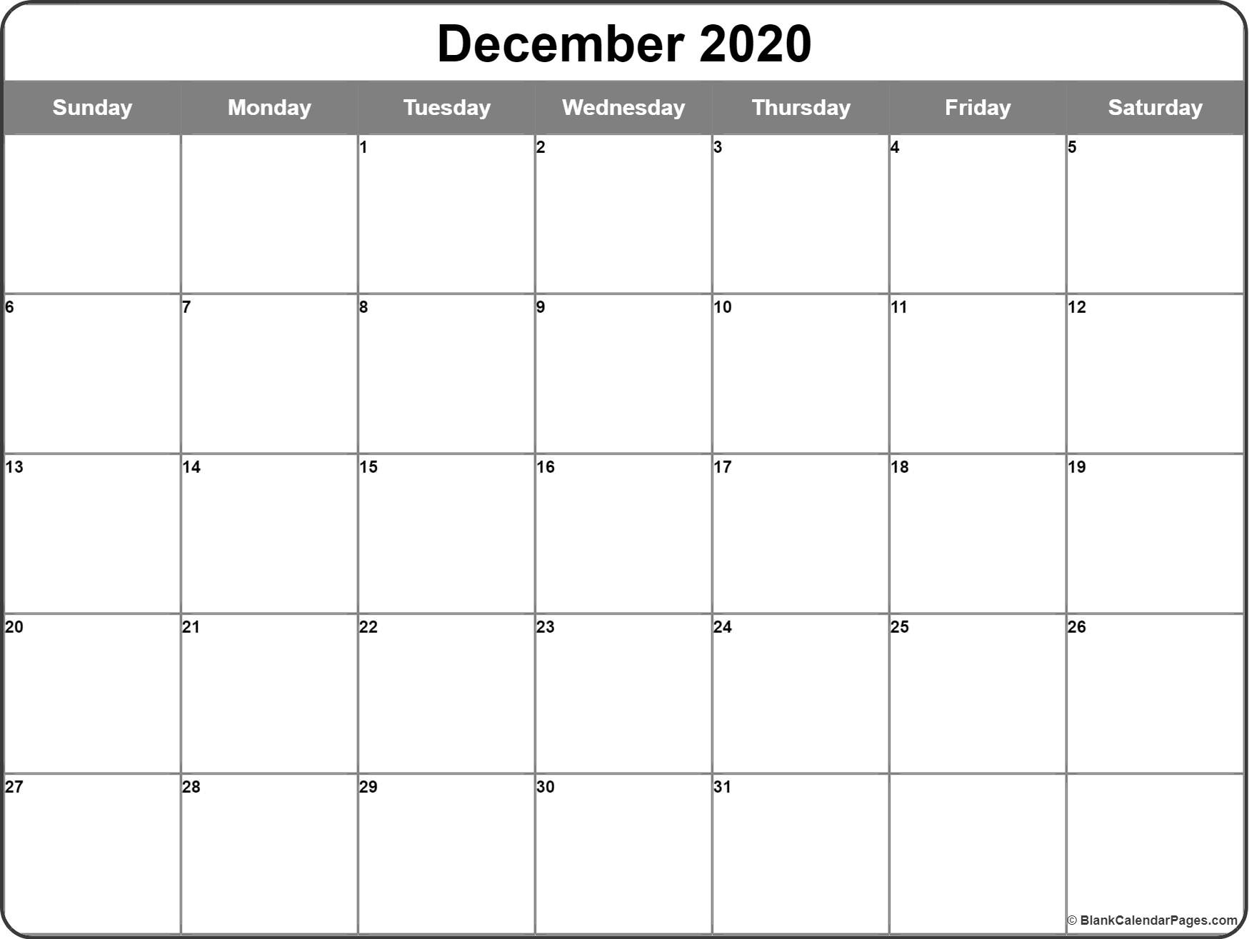 December 2020 Calendar | Free Printable Monthly Calendars intended for 2020 Printabl Calendar With Space To Write Free