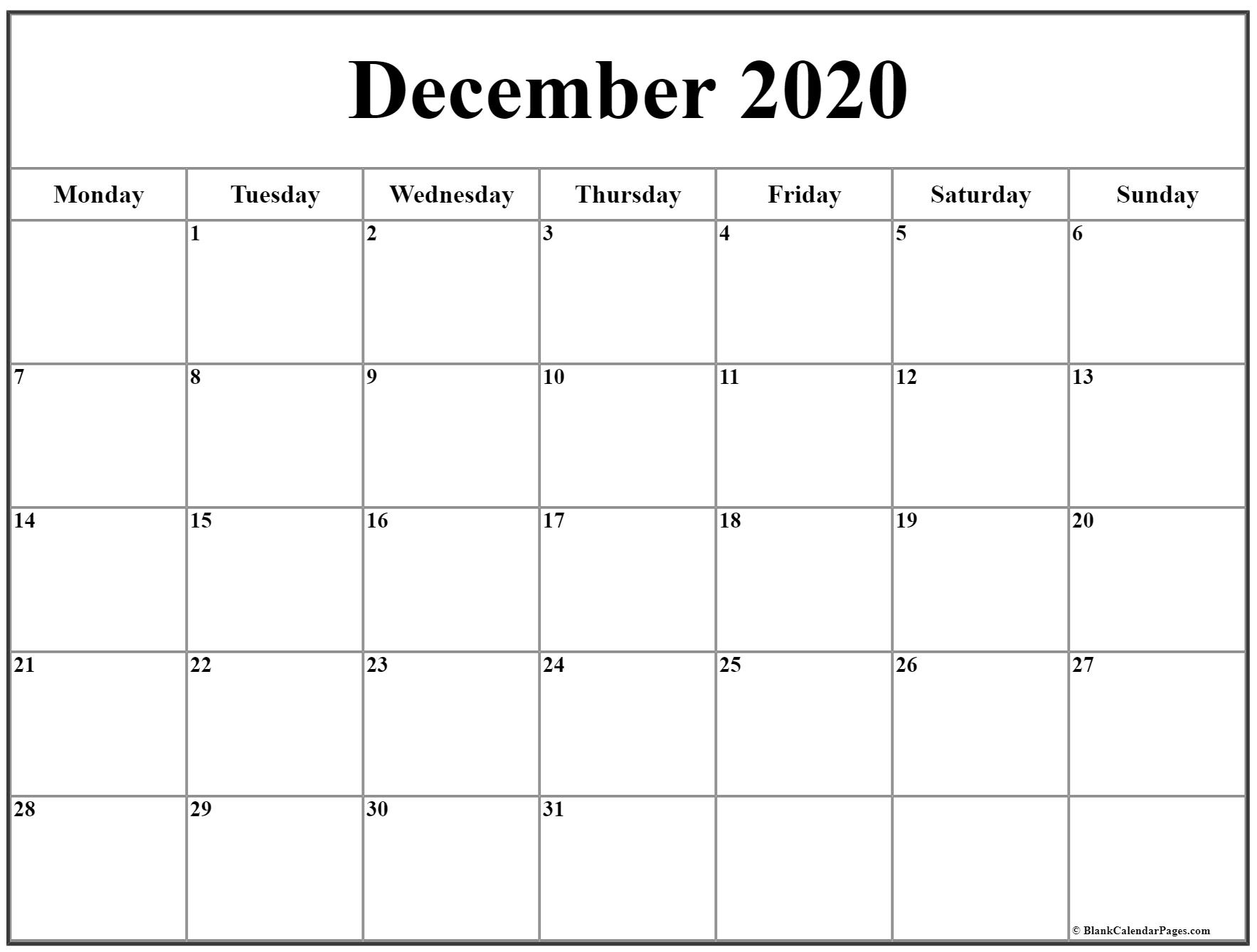 December 2020 Monday Calendar | Monday To Sunday intended for Printable Monday Calendar Monday Start