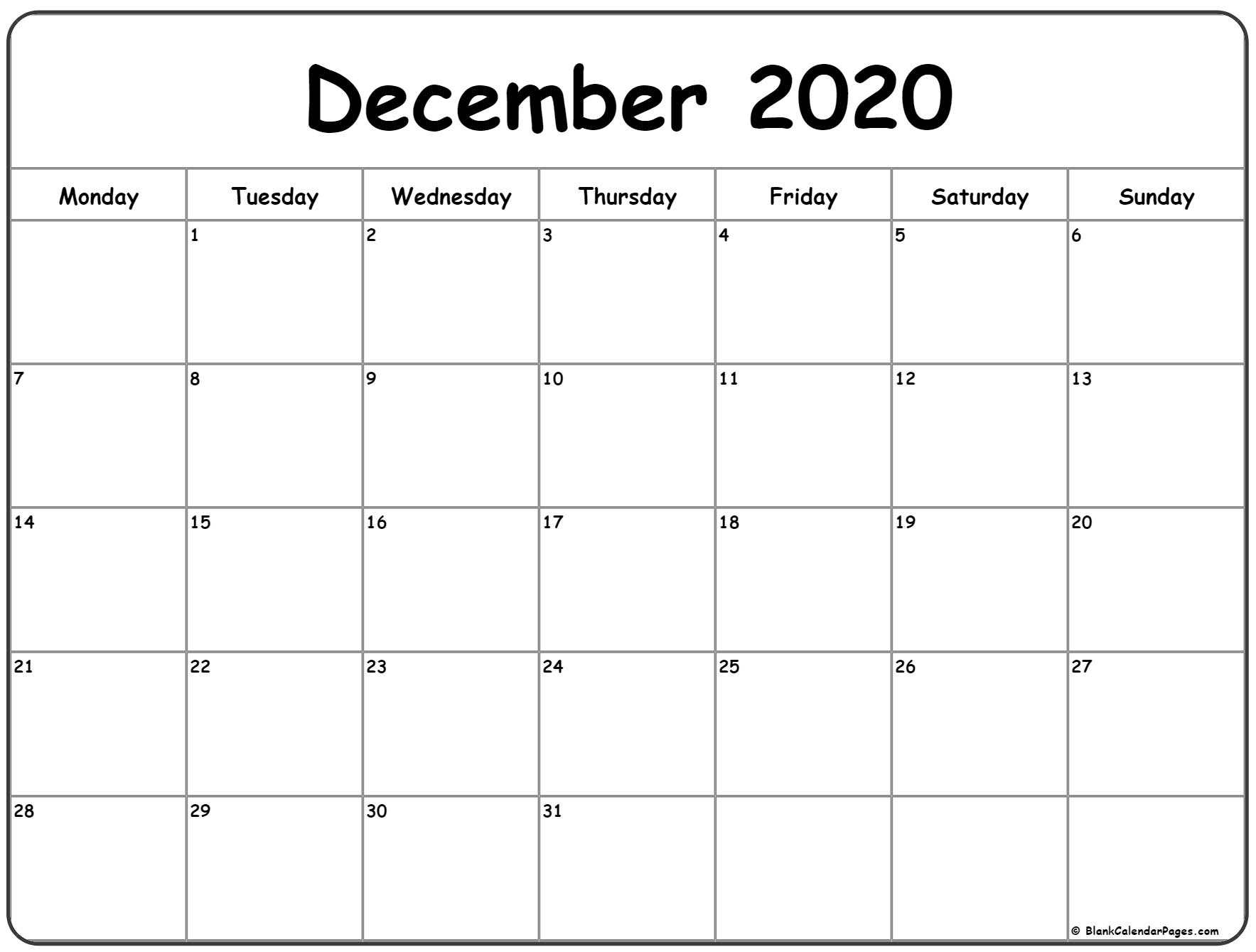 December 2020 Monday Calendar | Monday To Sunday with regard to Monthly Calendars That Start With Monday