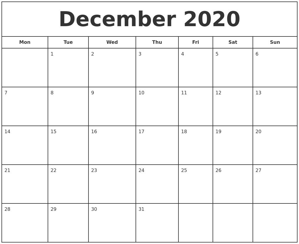 December 2020 Print Free Calendar pertaining to Printable Monday Calendar Monday Start