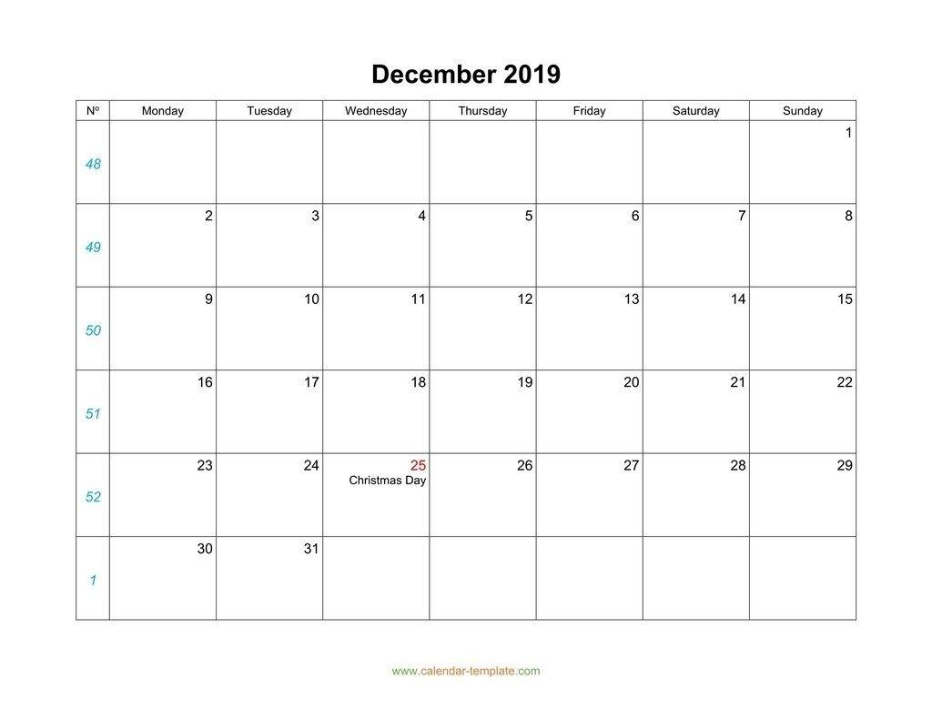December Calendar 2019 Blank Template Dowload | Calendar