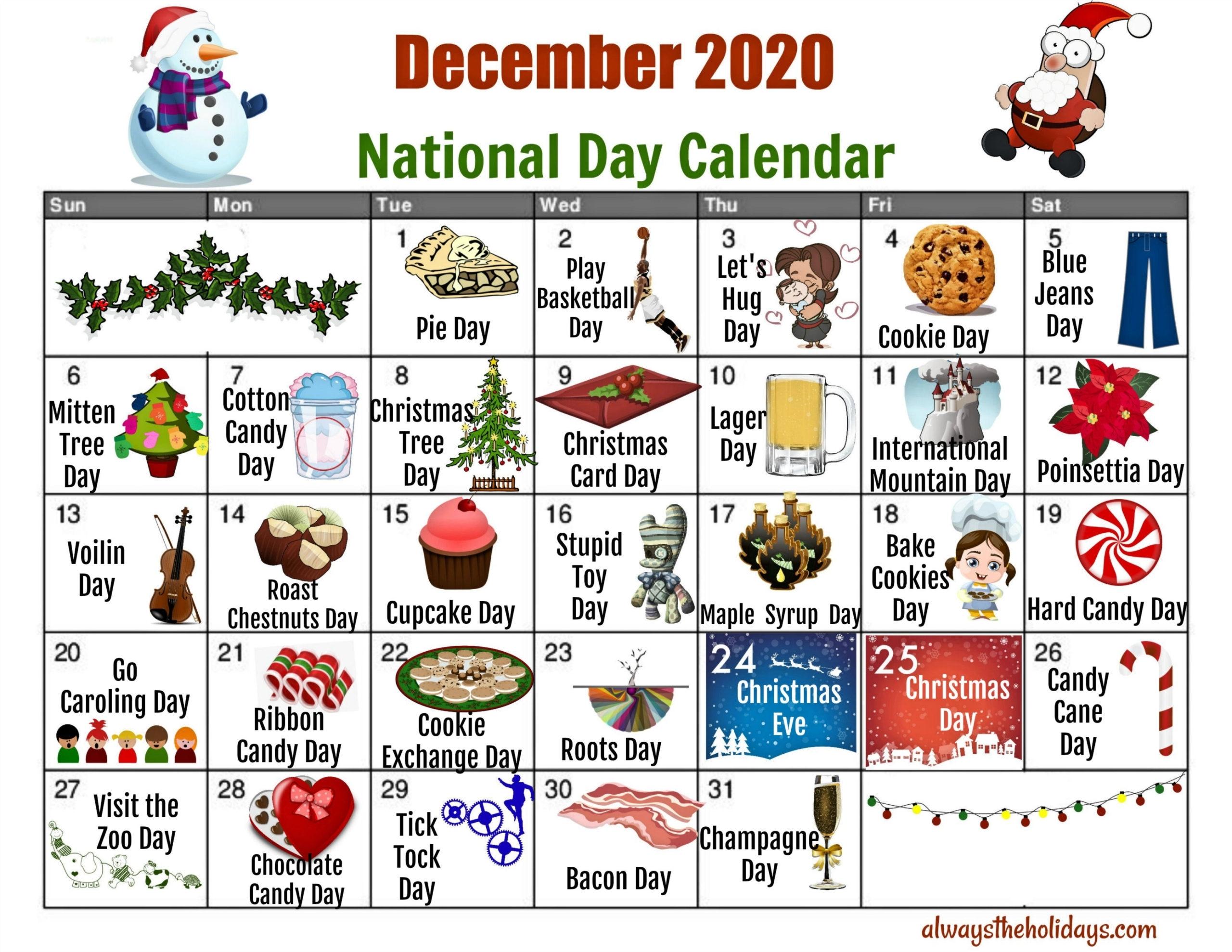 December National Day Calendar - Free Printable Calendars