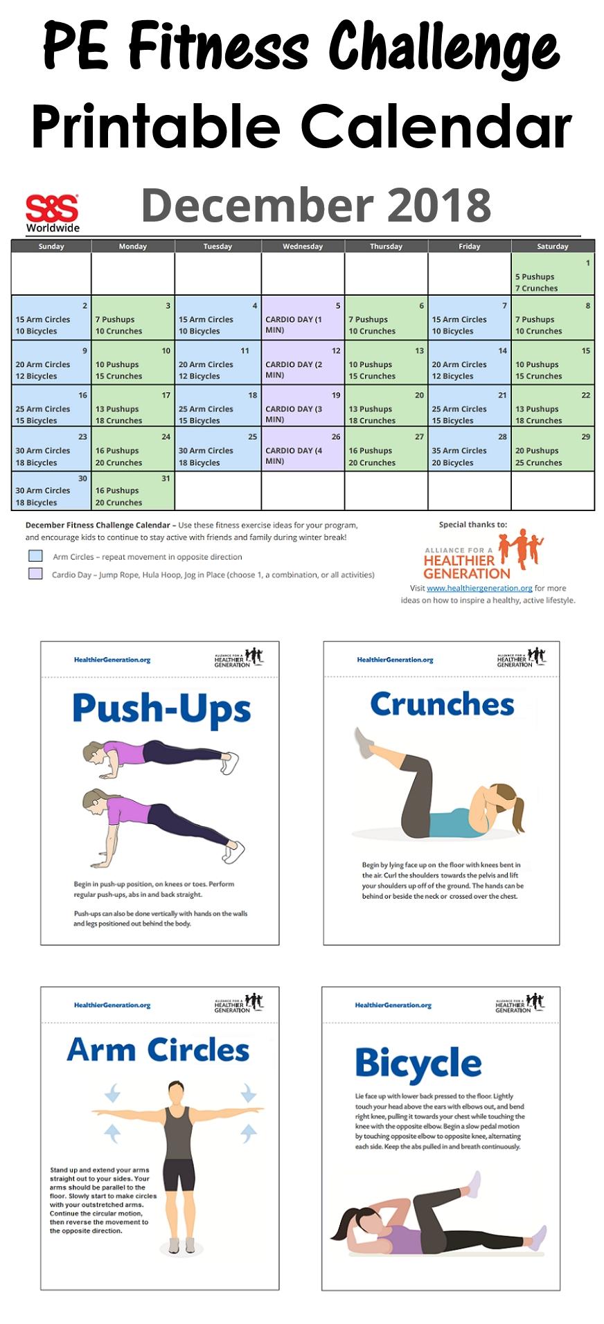 December Printable Fitness Challenge Calendar - S&S Blog