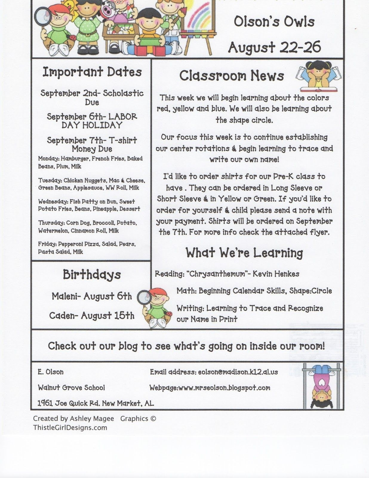 December School Newsletter Ideas | Click On The Image To